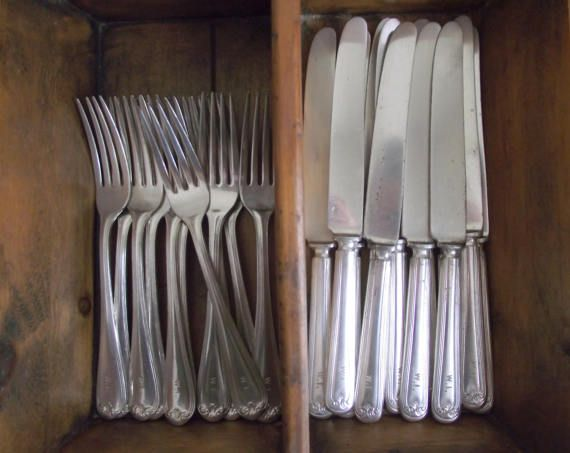 Monogrammed Silverware Forks & Knives  Initials W.I. by gazaboo