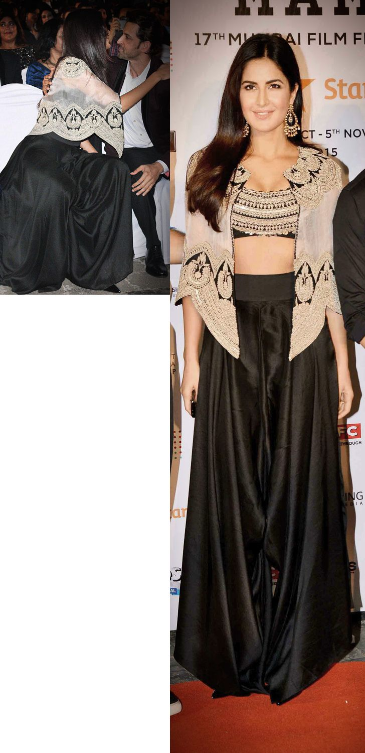 Katrina Kaif in an Anamika Khanna outfit: an emblazoned cape top teamed up with a black dhoti-palazzo pants