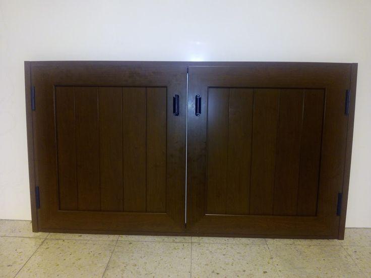 Puerta de aluminio imitaci n madera para barbacoa - Puerta terraza aluminio ...