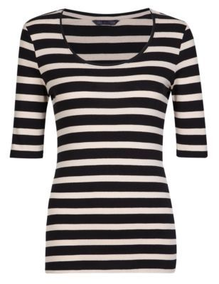Pure Cotton Striped T-Shirt with StayNEW