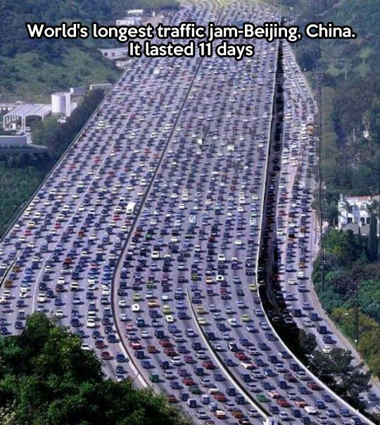 Longest traffic jam in the world…an image to keep in mind if you are ever stuck in traffic:it could always be worse-THIS much worse!