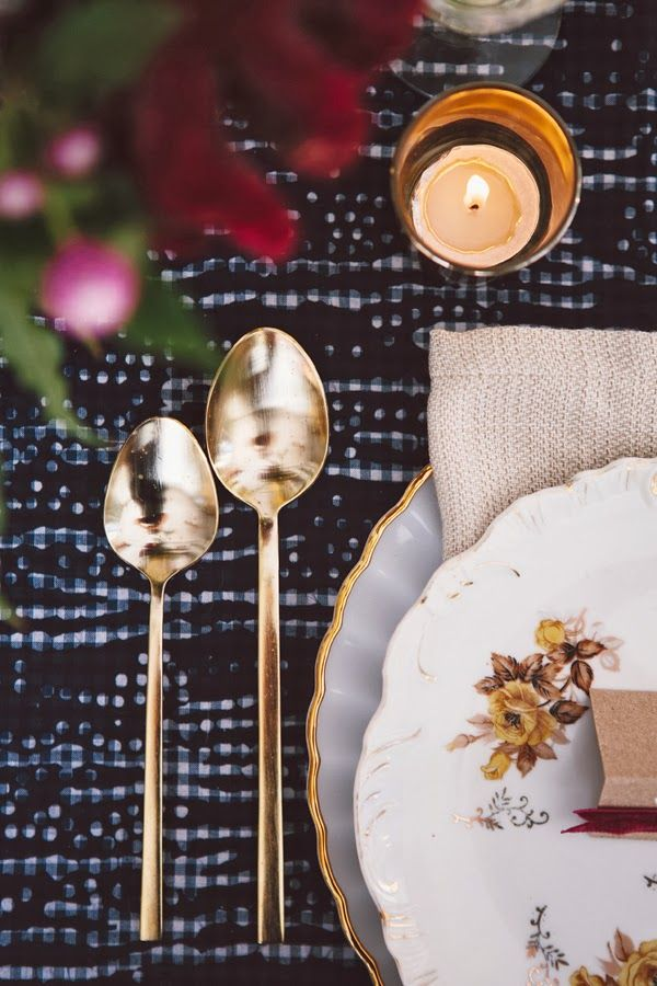 love the sophistication gold flatware brings to the table