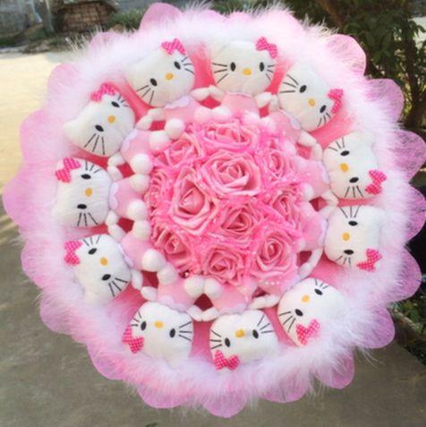 Букеты из шоколада и игрушек / Букеты цветов - 11 KT кошка питомец букет мультфильм букет плюшевые игрушки подарок на день рождения Хэфэй цветы Экспресс Национальный Экспресс
