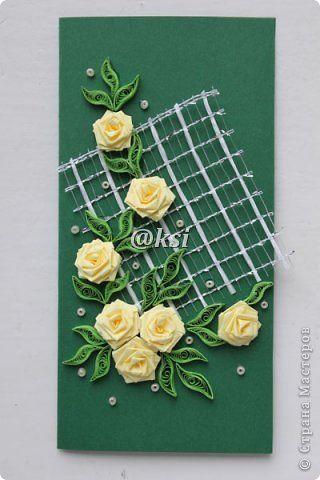 Открытка Квиллинг Баллада о розе — 4  Бисер Бумажные полосы Бусинки Сетка фото 2