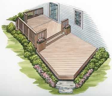 Two-Level Deck with Diagonal Flooring (HWBDO11441) | House Plan from BuilderHousePlans.com