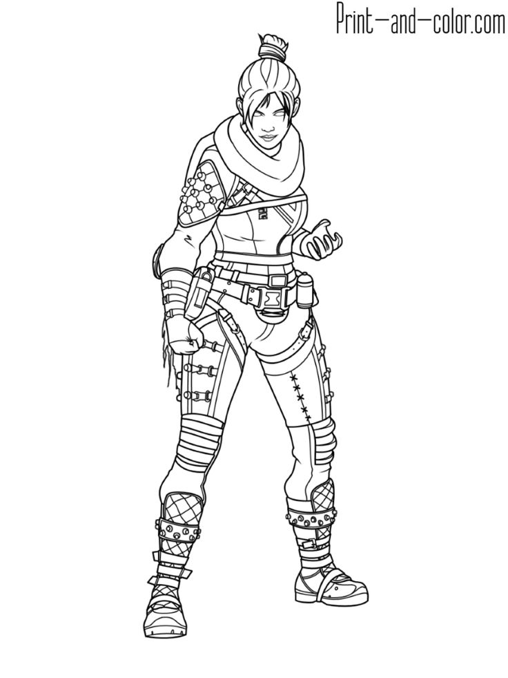 Apex Legends Coloring Page Wraith Art Drawings In 2019