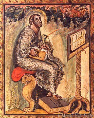 karolingisch Buchmalerei - Evangelist Lukas /aus Ebo-Evangeliar