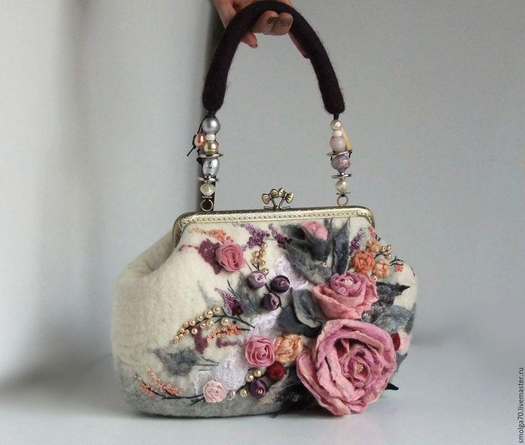"""Купить сумочка """"Ясная"""" - розовый, розы, розовый букет, Валяние, сумочка, валяная сумочка"""