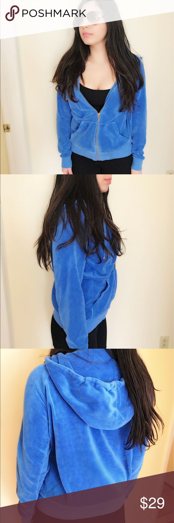 Juicy couture blue zip up jacket This Juicy jacket is brand new without tags and doesn't have any defects. It is warm and comfy. It is perfect for chilling in the house or whenever you want to feel comfy out. original size is a small but, it fits like a medium. If you like your jackets a bit oversized and you wear a small, then this would be fine too ❤️ Juicy Couture Jackets & Coats