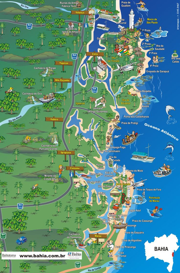 Mapa da Costa do Dendê - Bahia / Morro de São Paulo, Ilha de Boipeba
