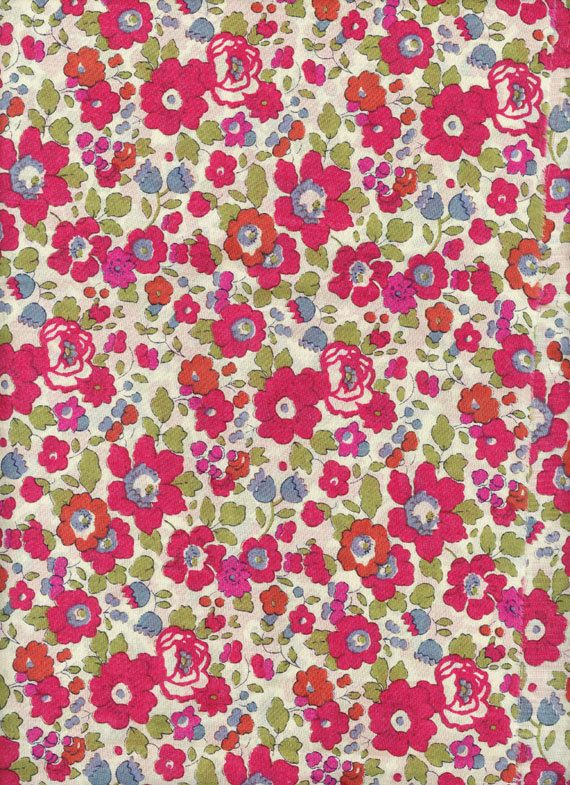 Liberty of London tana lawn fabric Betsy in red 6x27 by MissElany, $4.00