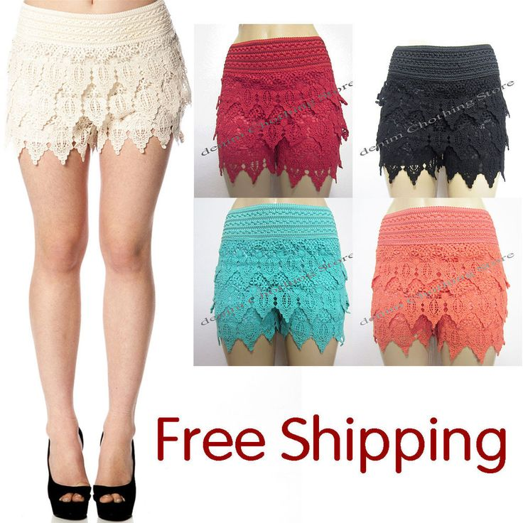 Korean Fashion Women's Sweet Cute Crochet Tiered Lace Shorts Skorts Short Pants #Unbranded #Skorts