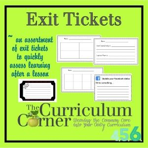 Exit Tickets for Grades 4, 5 and 6 by The Curriculum Corner - SO MANY FREE exit tickets to do a quick check after a lesson.  Lots of choices so you can pick the one that fits your lesson.