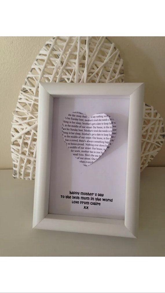 Personalised Lyrics Frame by MareesMakesNuneaton on Etsy