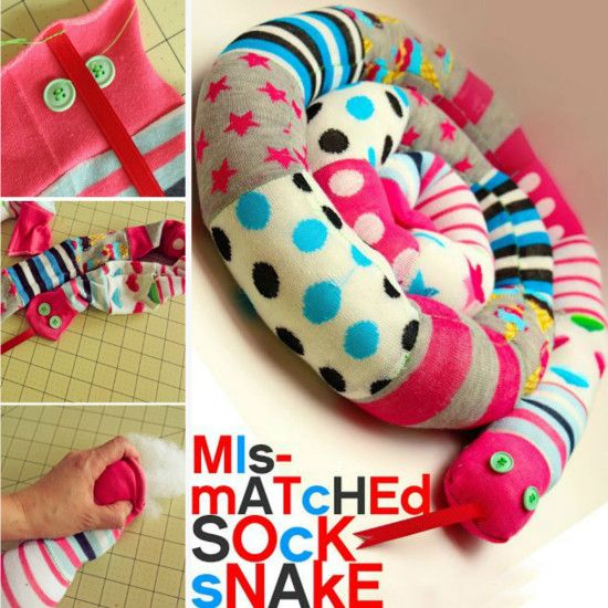Mismatched Sock Snake - use your odd socks to create this sock snake that is perfect for doors and drafts