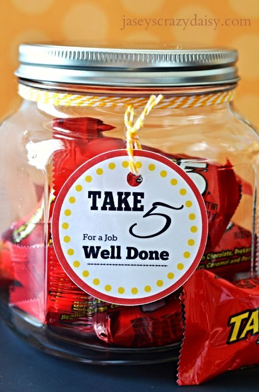 Thank you gift. Take 5 candy. Teacher, employee gift