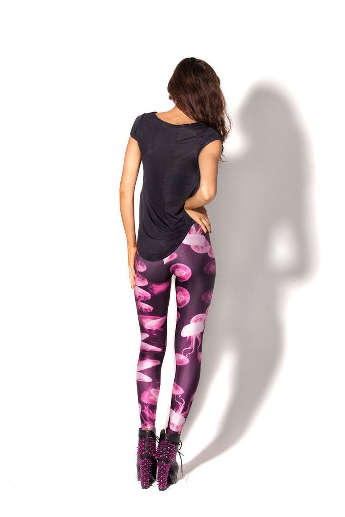 Beautiful Lycra Leggings With Hot Pink Pattern