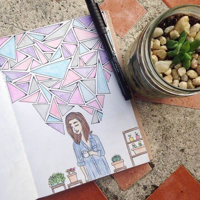 Cute geometry and girls drawingg