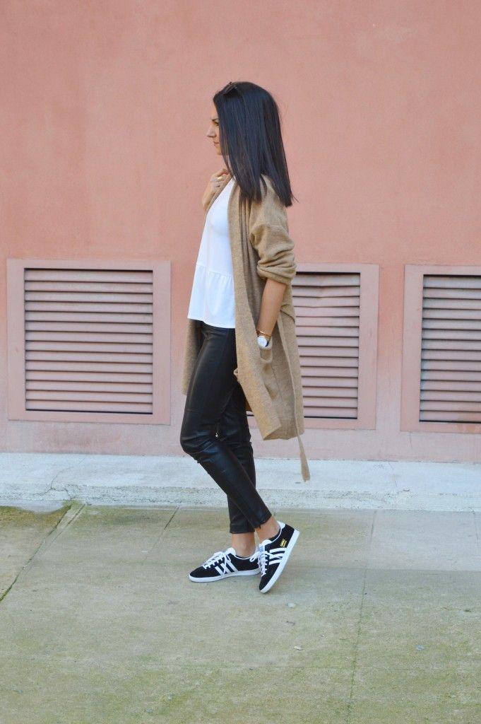 adidas gazelle gilet camel blog mode blogueuse mode pantalon en cuir tenue tendance été 2015                                                                                                                                                                                 More