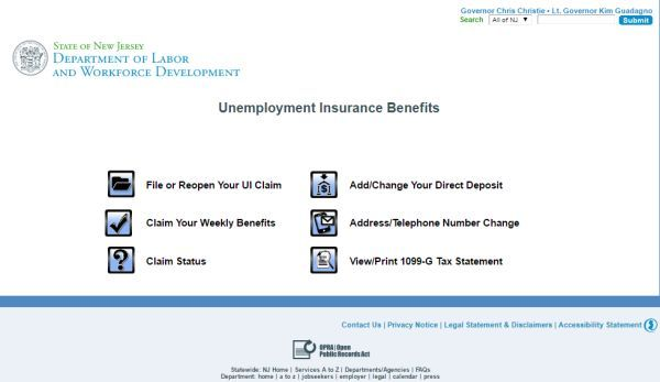 State of New Jersey Unemployment Insurance Benefits Application