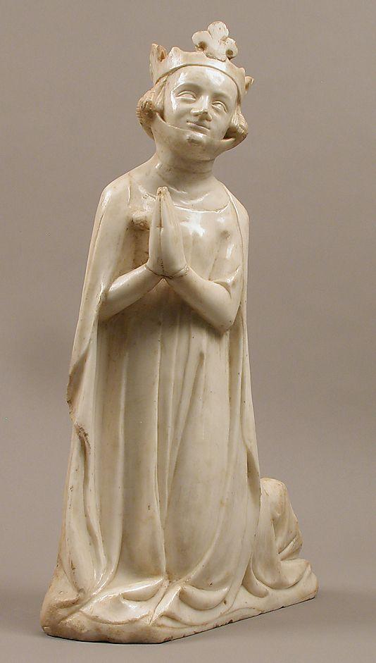Reine. Probablement Blanche de Navarre.  Environ 1350.  France.  Marbre avec traces de peintures et de dorures.  La série appartenait probablement à un autel ou une tombe.  Metropolitan Museum of Art