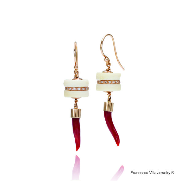 My Lucky Day Earrings in gold, diamonds, red coral, vintage bone disks.