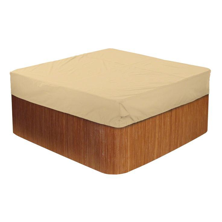 Classic Accessories Terrazzo® Square Hot Tub Cover Cap, Large, Beige, Patio Furniture