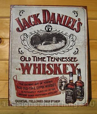 vintage metal signs decor | Used Jack Daniel's Sippin Whiskey TIN SIGN vtg metal wall decor old ...