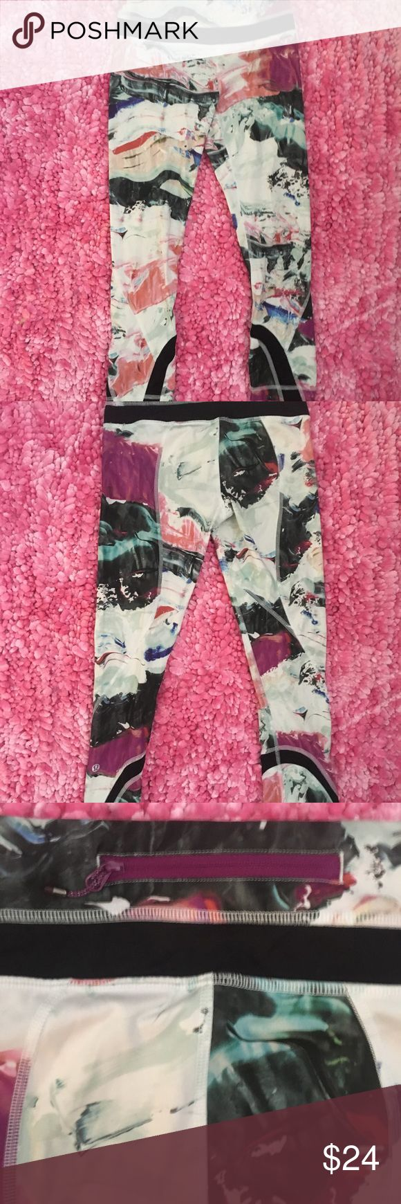 Lululemon Workout Pants | Size 2 Lululemon workout pants with floral / color patter! Adorable for the gym or daily errands. True to size: women's 2 lululemon athletica Pants Track Pants & Joggers