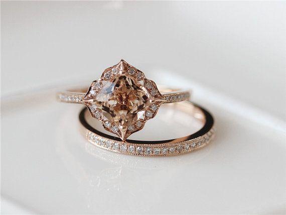 New Unqiue Wedding Ring Set mm Cushion Cut Vintage Morganite Engagement Ring u Match Band K Rose