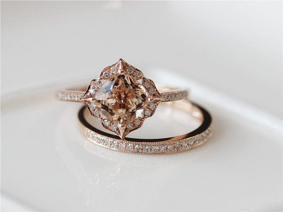 Unqiue Wedding Ring Set 7mm Cushion Cut Vintage Morganite Engagement Ring & Match Band 14K Rose Gold