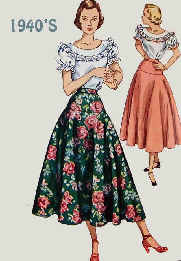 Vintage 1950s Womens Drop Yoked Waist Full Flared Circle Skirt Sewing Pattern Simplicity 2572 Wasit 24 Hip 33 by sandritocat on Etsy