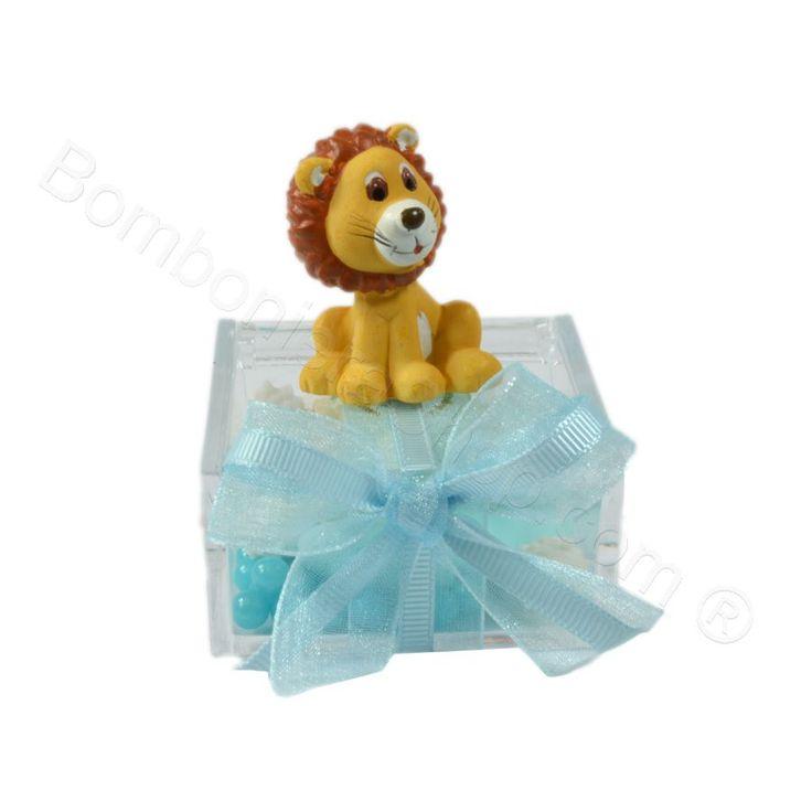 Animaletti Grandi della Savana confezionati su plexiglass decorati celeste il prezzo è unitario #leone #animali #bomboniera #scatolina #plexiglass