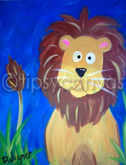 kids canvas painting lion - Animal Painting For Kids