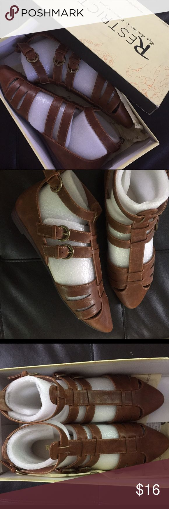 Brown gladiator sandals Restricted 7 NEW New with box size 7 brown coco gladiator Litta style sandals Restricted brand. Adjustable straps Restricted Shoes Sandals