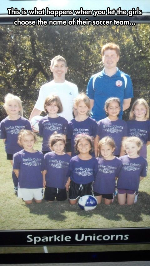 This is what happens when you let little girls choose the name of their soccer team