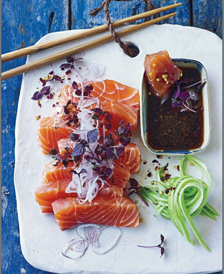 "Salmon sashimi  Bruce says, ""love the plating and garnishing. Wish I could reach through the internet and help myself."""