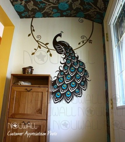 Wallpaper ceiling + Peacock wall decal (from NouWall)