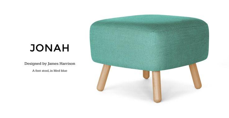 Jonah Footstool in Med blue | made.com