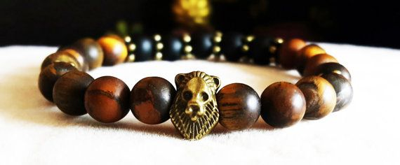 Men's Gemstone Lion Bracelet. Genuine Matte Tiger Eye