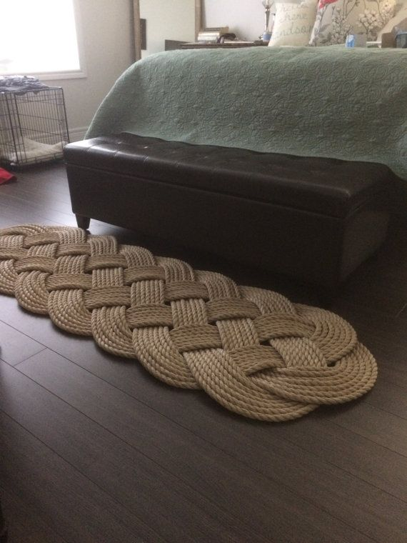 "Pro Manila Rope Rug - Nautical Decor - Rope Mat - Tan Rope Rug - Rope Knots -  (70"" x 23"") by OYKNOT"