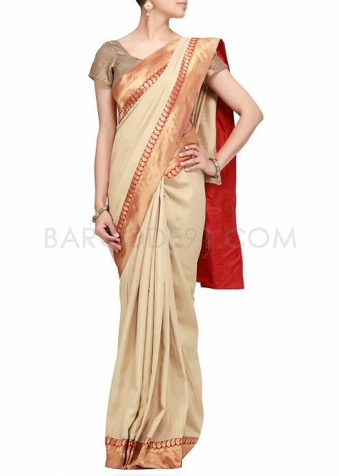$59 Saree in upada silk with banarasi border embellished with embroidery by B91 Exclusive