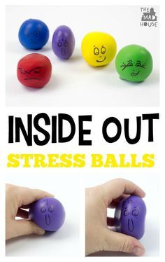 Inside out DIY stress balls.  Be inspired by Inside Out to create your own DIY stress balls.  They are so simple to make and perfect for helping kids understand and express their emotions