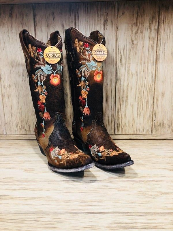 b3086a72e06 Corral Women's Chocolate Lamb Floral Embroidery Snip Toe Boots A3597 ...