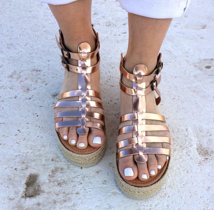 aelia gladietor handmade sandals/ bronze/pink gold/gladietor/platform with rope / flatform /golden sandals by aeliasandals on Etsy