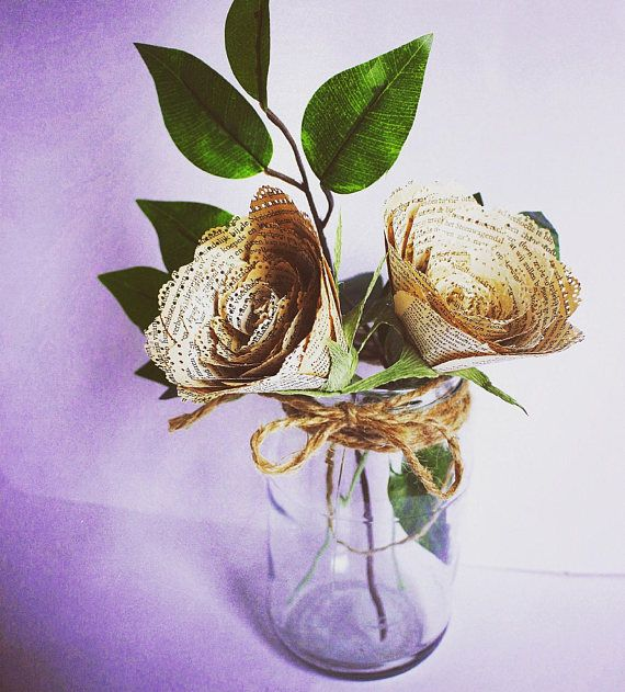 Book Pages Roses Vintage Style True Love Story paper flowers
