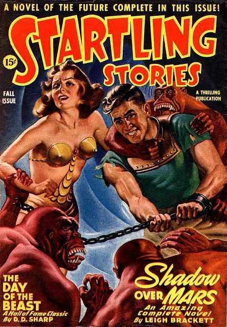 scificovers: Youd be startled too wearing that outfit. Startling Stories Pulp Magazine Cover Art by Earle Bergey by kocojim on Flickr.