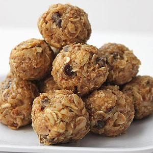 Healthy Snack: No Bake Energy Bites: Combine 1 cup rolled oats, 1/2 cup peanut butter, 1/3 cup honey, 1 cup sweetened coconut flakes, 1/2 cup ground flaxseed, 1/2 cup mini chocolate chips, and 1 tsp vanilla in a mixing bowl. Chill 30 min, then roll into balls. Store in an airtight container in the fridge up to a week.