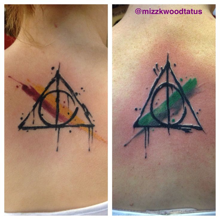 Harry potter deathly hollows watercolor tattoos. I do not know which artist did these but they are awesome!