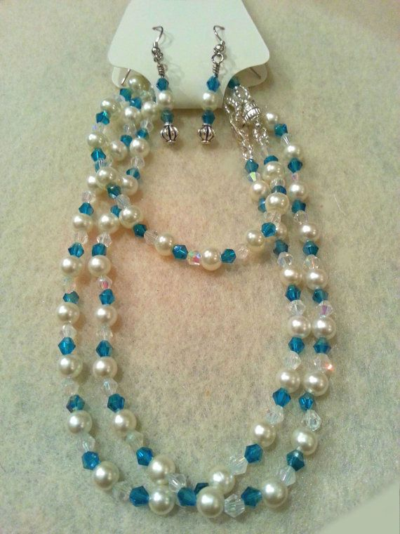 Elegant Set  Peacock Blue Swarovski Crystal by FrantasticCreationz, $20.00